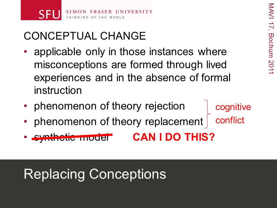 MAVI 17, Bochum 2011 Replacing Conceptions CONCEPTUAL CHANGE applicable only in those instances where misconceptions are formed through lived experiences and in the absence of formal instruction phenomenon of theory rejection phenomenon of theory replacement synthetic model CAN I DO THIS.