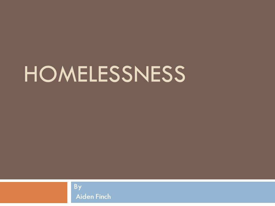 HOMELESSNESS By Aiden Finch