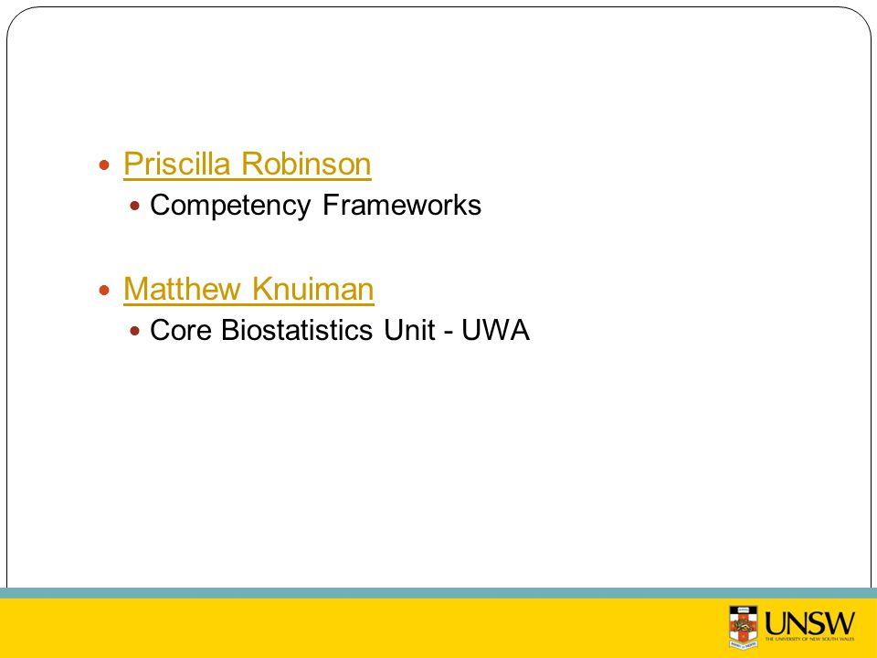Priscilla Robinson Competency Frameworks Matthew Knuiman Core Biostatistics Unit - UWA