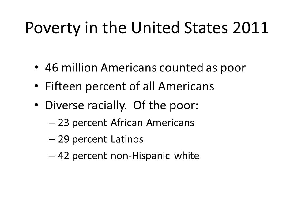 Poverty in the United States 2011 46 million Americans counted as poor Fifteen percent of all Americans Diverse racially.