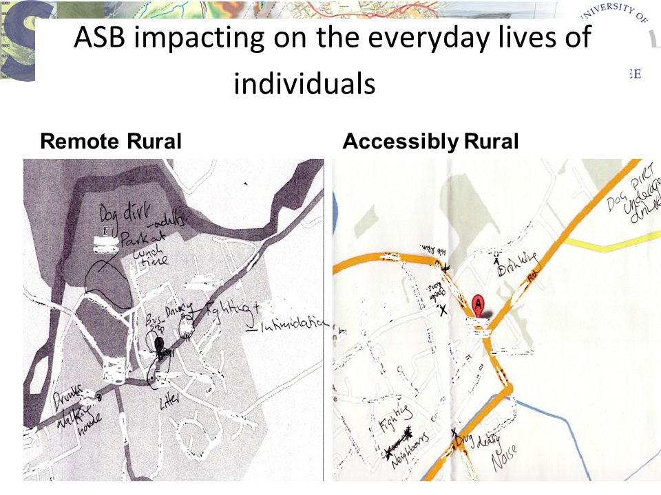 ASB impacting on the everyday lives of individuals Remote RuralAccessibly Rural