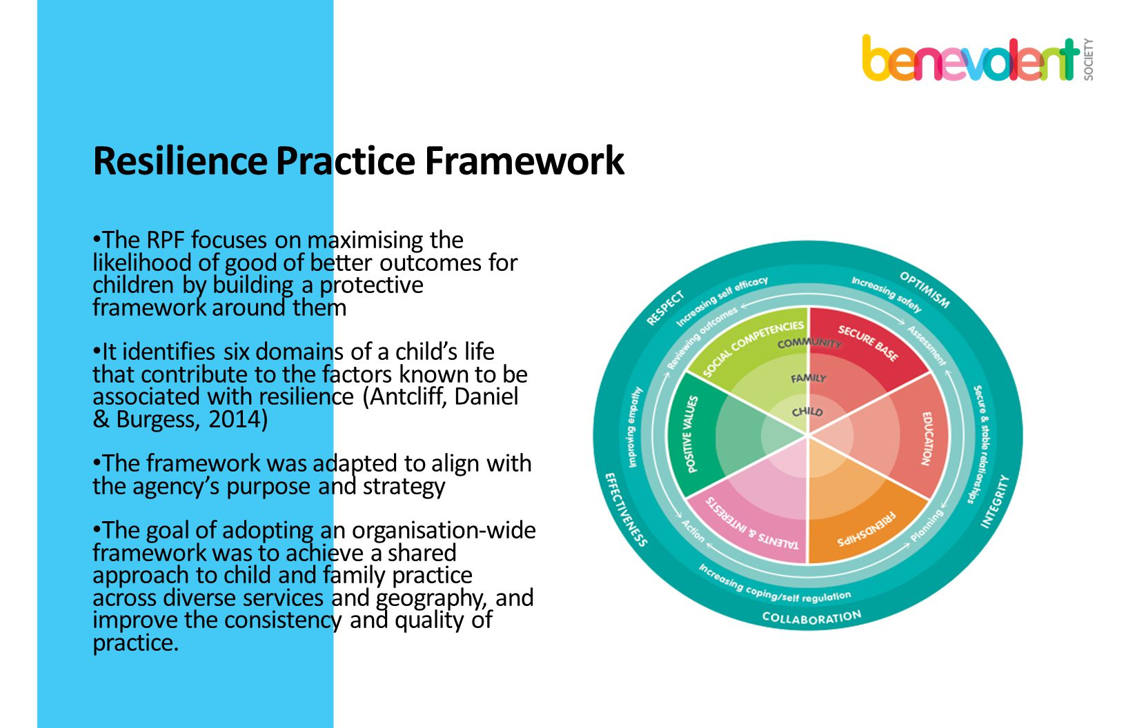Resilience Practice Framework The RPF focuses on maximising the likelihood of good of better outcomes for children by building a protective framework
