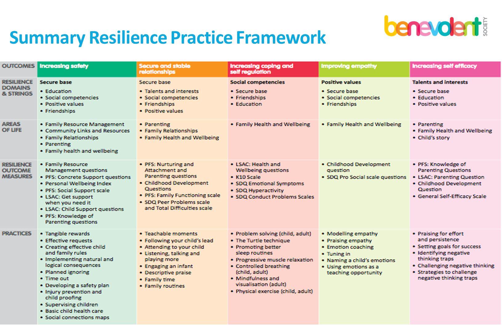 Summary Resilience Practice Framework