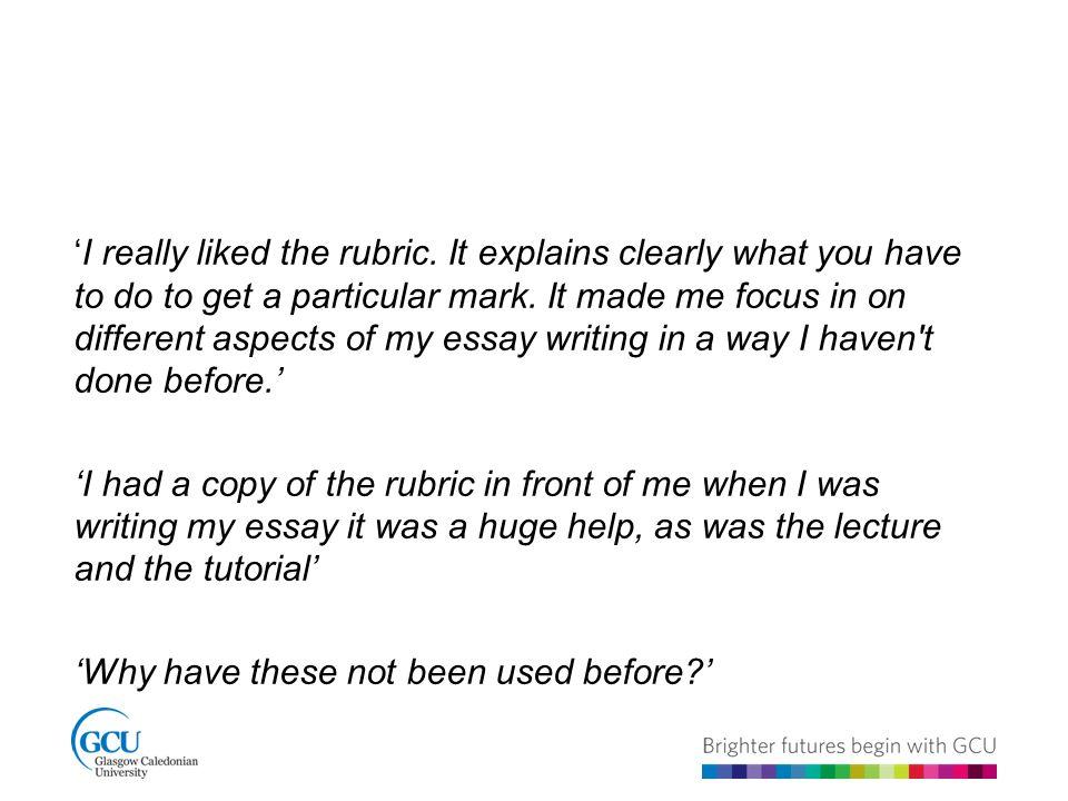 'I really liked the rubric. It explains clearly what you have to do to get a particular mark.