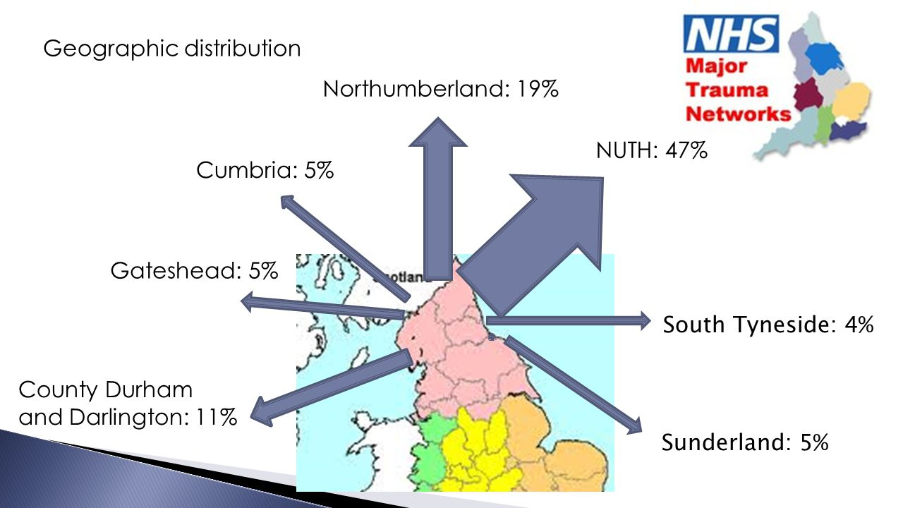 South Tyneside: 4% Sunderland: 5% Cumbria: 5% Gateshead: 5% Northumberland: 19% NUTH: 47% County Durham and Darlington: 11% Geographic distribution