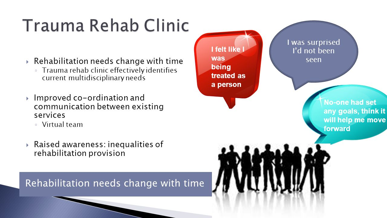 Rehabilitation needs change with time  Rehabilitation needs change with time ◦ Trauma rehab clinic effectively identifies current multidisciplinary needs  Improved co-ordination and communication between existing services ◦ Virtual team  Raised awareness: inequalities of rehabilitation provision I felt like I was being treated as a person No-one had set any goals, think it will help me move forward I was surprised I'd not been seen