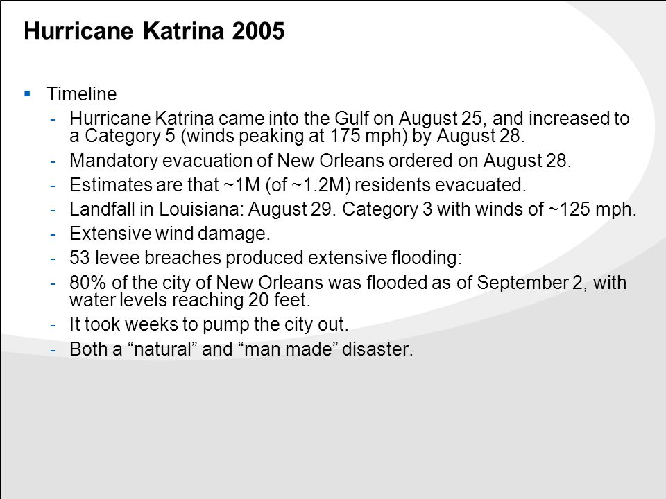 Hurricane Katrina 2005  Timeline -Hurricane Katrina came into the Gulf on August 25, and increased to a Category 5 (winds peaking at 175 mph) by Augu
