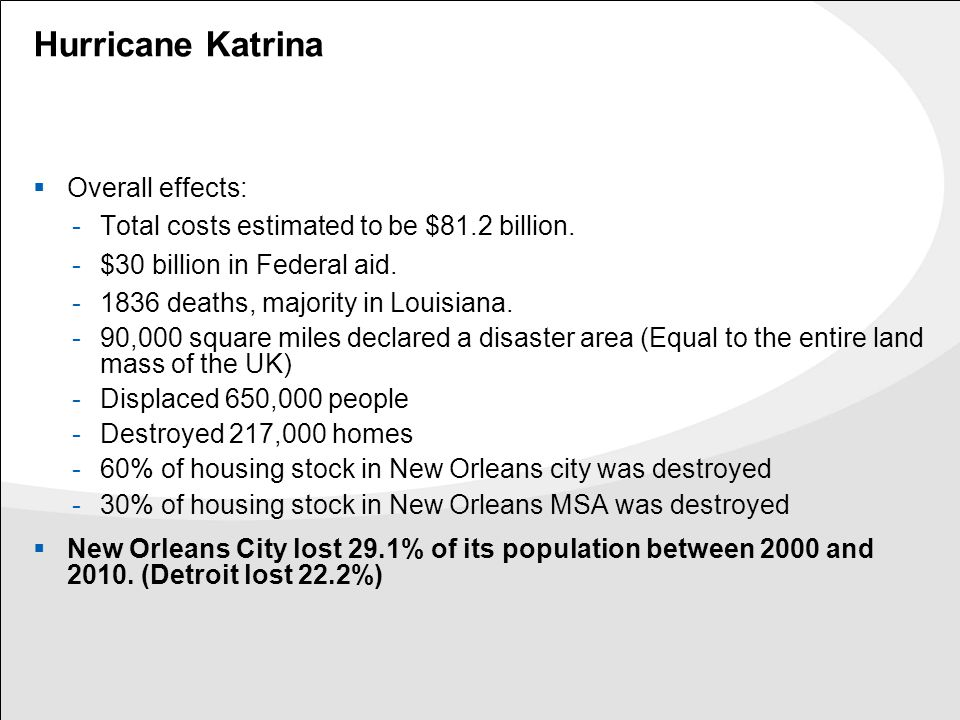 Hurricane Katrina  Overall effects: -Total costs estimated to be $81.2 billion. -$30 billion in Federal aid. -1836 deaths, majority in Louisiana. -90