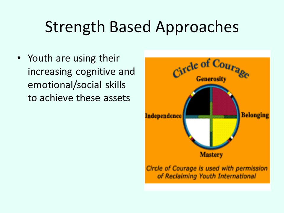 Strength Based Approaches Youth are using their increasing cognitive and emotional/social skills to achieve these assets