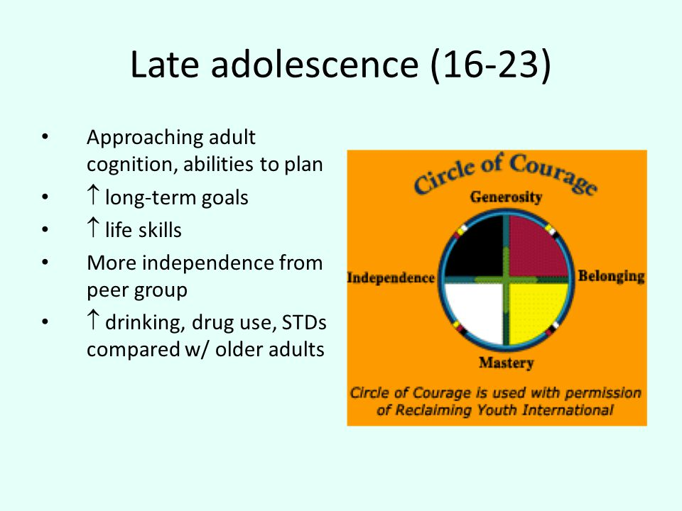 Late adolescence (16-23) Approaching adult cognition, abilities to plan  long-term goals  life skills More independence from peer group  drinking, drug use, STDs compared w/ older adults