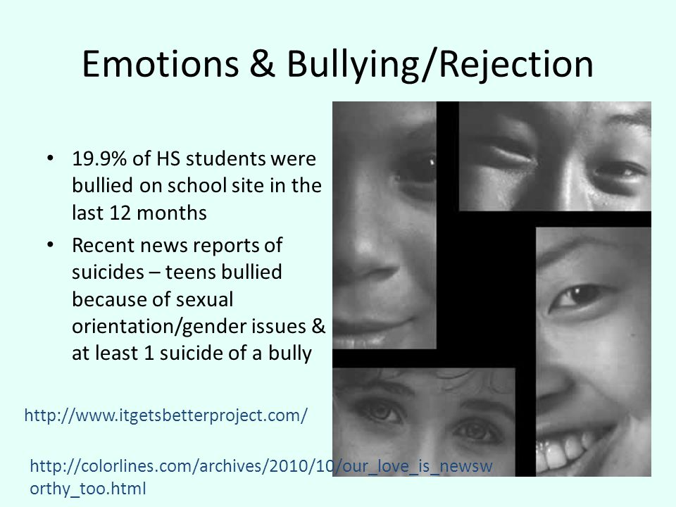 Emotions & Bullying/Rejection 19.9% of HS students were bullied on school site in the last 12 months Recent news reports of suicides – teens bullied because of sexual orientation/gender issues & at least 1 suicide of a bully http://www.itgetsbetterproject.com/ http://colorlines.com/archives/2010/10/our_love_is_newsw orthy_too.html