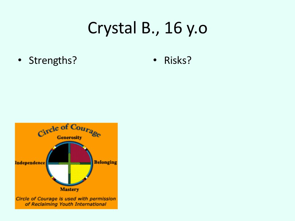 Crystal B., 16 y.o Strengths Risks