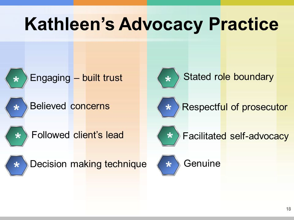 18 Kathleen's Advocacy Practice Engaging – built trust * Respectful of prosecutor Believed concerns Followed client's lead * * * Decision making technique Stated role boundary * Facilitated self-advocacy Genuine * * *