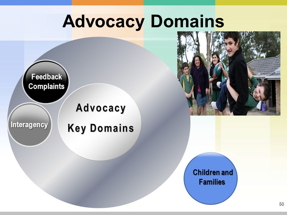 50 Advocacy Domains Advocacy Key Domains Feedback Complaints Interagency Children and Families