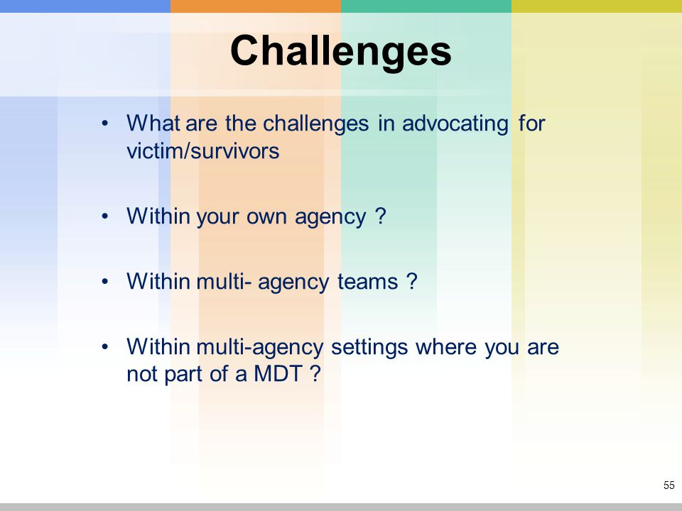 55 Challenges What are the challenges in advocating for victim/survivors Within your own agency .