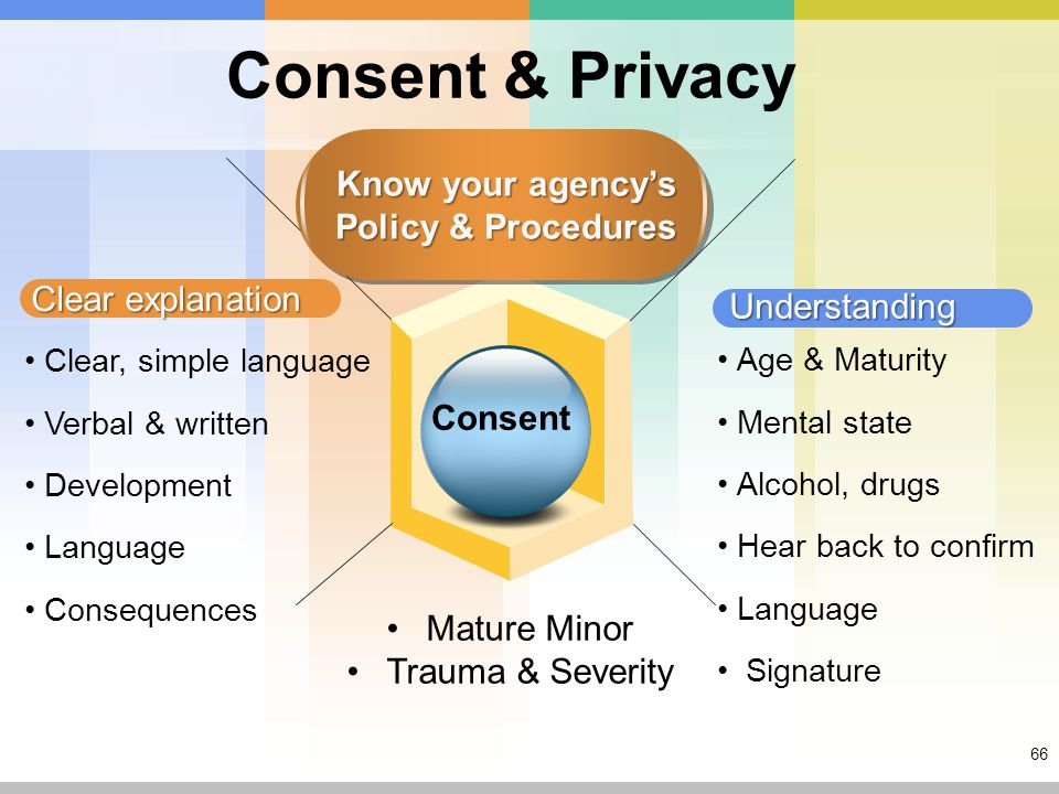 66 Consent & Privacy Clear explanation Understanding Clear, simple language Verbal & written Development Language Consequences Age & Maturity Mental state Alcohol, drugs Hear back to confirm Language Signature Mature Minor Trauma & Severity Consent Know your agency's Policy & Procedures