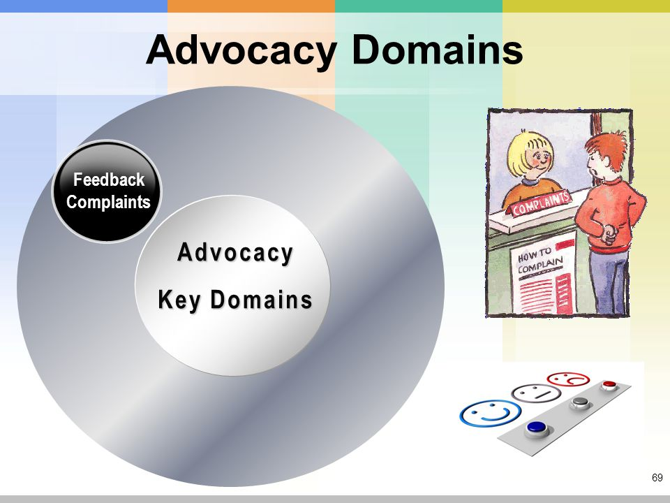 69 Advocacy Domains Advocacy Key Domains Feedback Complaints