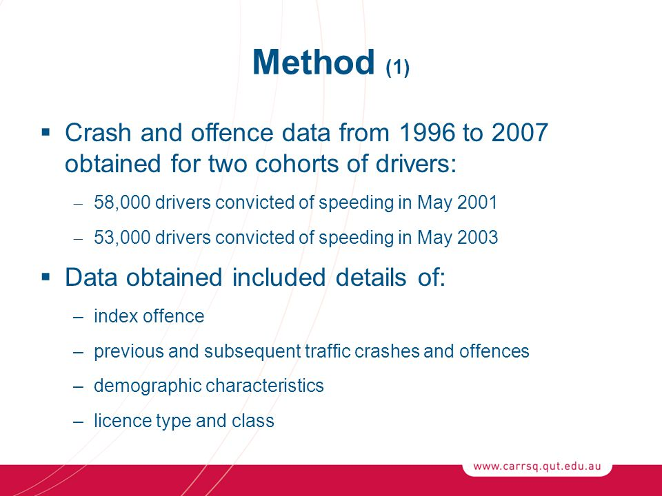Method (1)  Crash and offence data from 1996 to 2007 obtained for two cohorts of drivers:  58,000 drivers convicted of speeding in May 2001  53,000