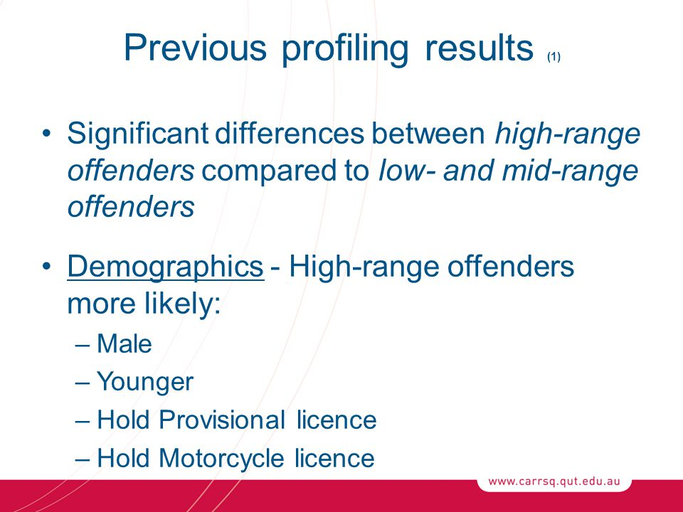 Previous profiling results (1) Significant differences between high-range offenders compared to low- and mid-range offenders Demographics - High-range