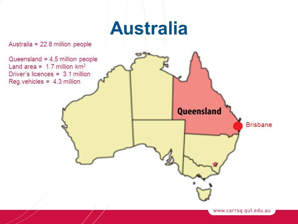 Australia Brisbane Australia = 22.8 million people Queensland = 4.5 million people Land area = 1.7 million km 2 Driver's licences = 3.1 million Reg.vehicles = 4.3 million