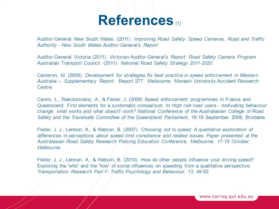 References (1) Auditor-General New South Wales. (2011).