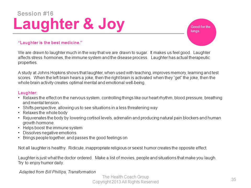 Laughter & Joy Session #16 The Health Coach Group Copyright 2013 All Rights Reserved 35 Good for the lungs.