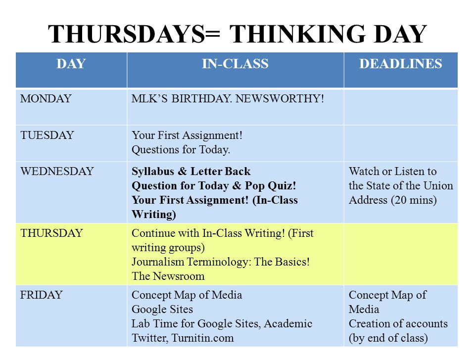 THURSDAYS= THINKING DAY DAYIN-CLASSDEADLINES MONDAYMLK'S BIRTHDAY. NEWSWORTHY! TUESDAYYour First Assignment! Questions for Today. WEDNESDAYSyllabus &