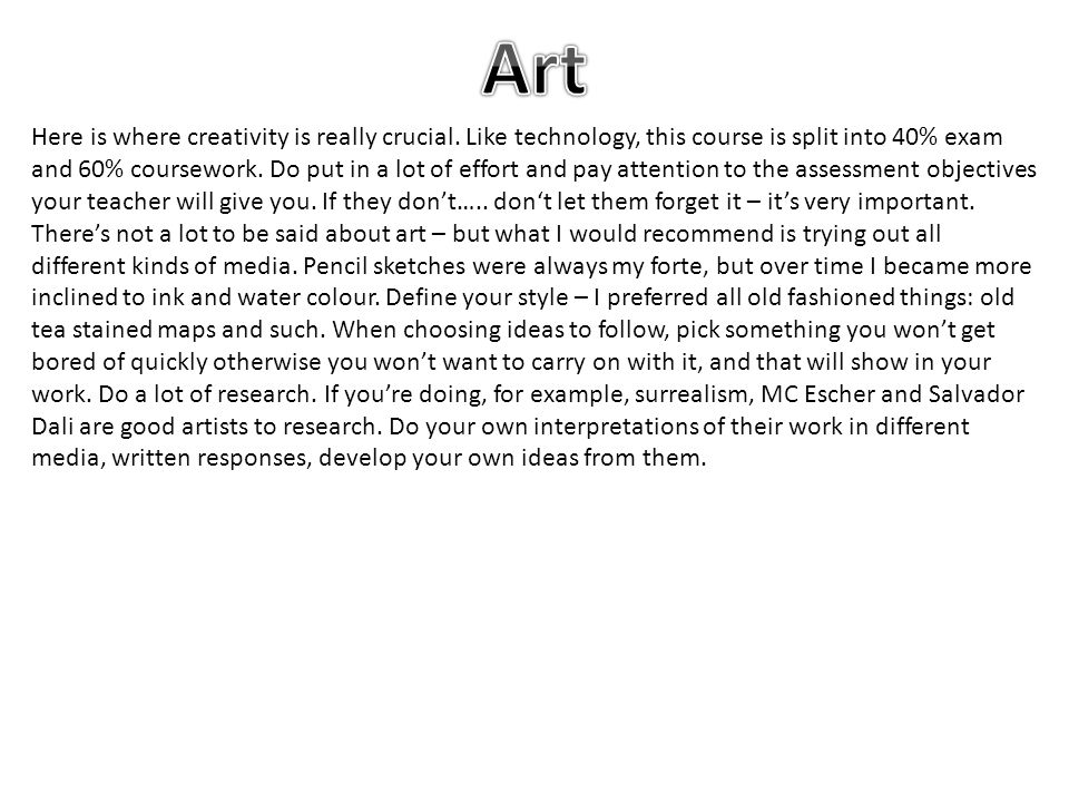 Here is where creativity is really crucial.