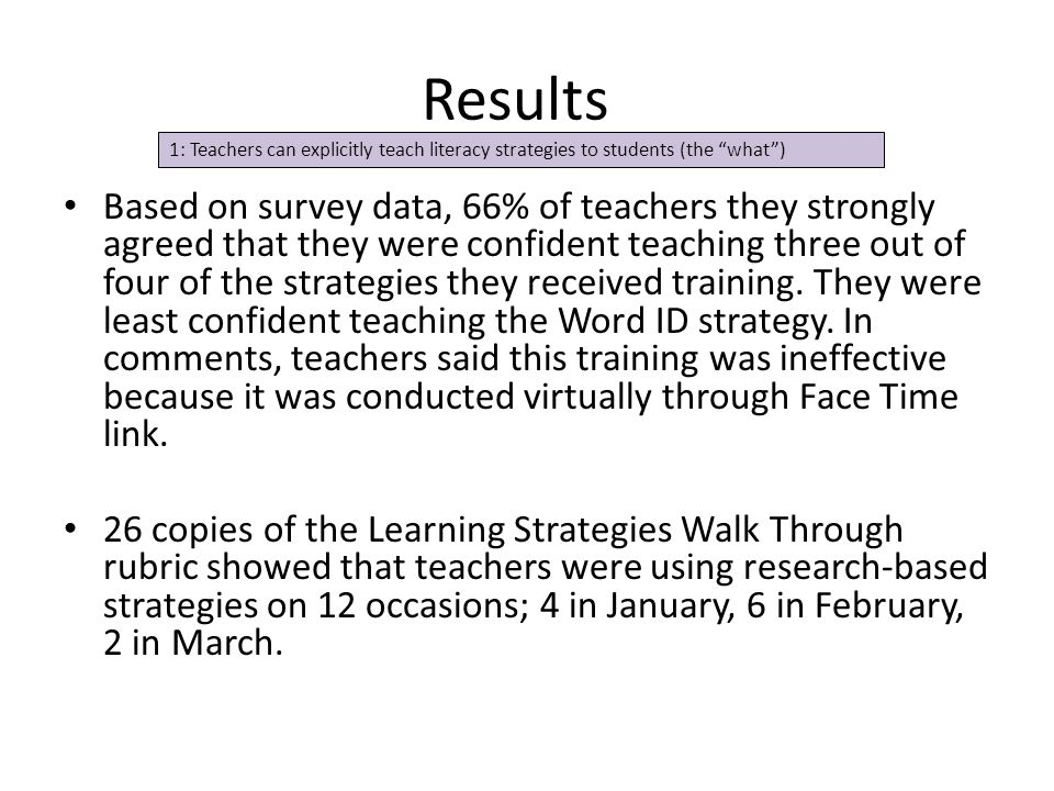 Results Based on survey data, 66% of teachers they strongly agreed that they were confident teaching three out of four of the strategies they received