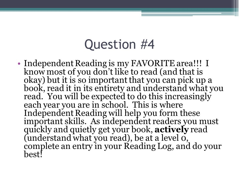 Question #4a Everybody has taken the SRI test.