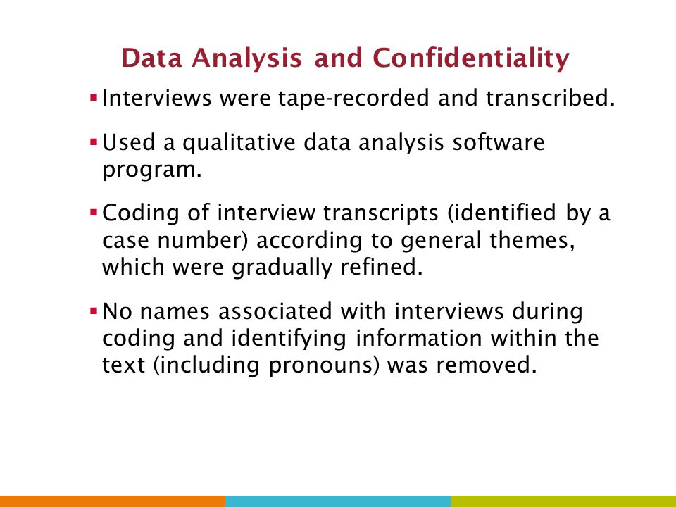 Data Analysis and Confidentiality  Interviews were tape-recorded and transcribed.