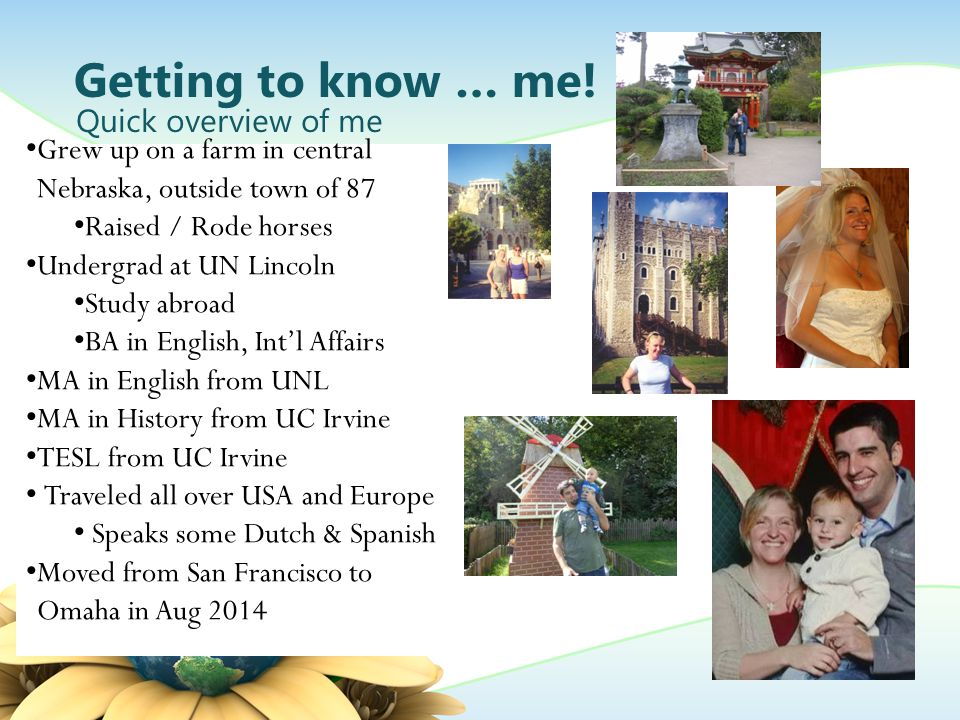 Getting to know … me.