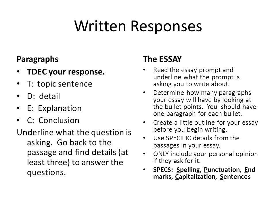 Written Responses Paragraphs TDEC your response.