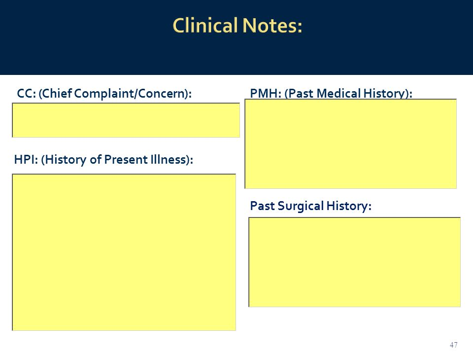 CC: (Chief Complaint/Concern): HPI: (History of Present Illness): PMH: (Past Medical History): 47 Past Surgical History: