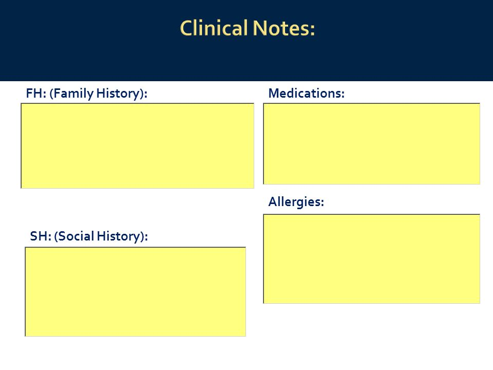 FH: (Family History):Medications: Allergies: SH: (Social History):