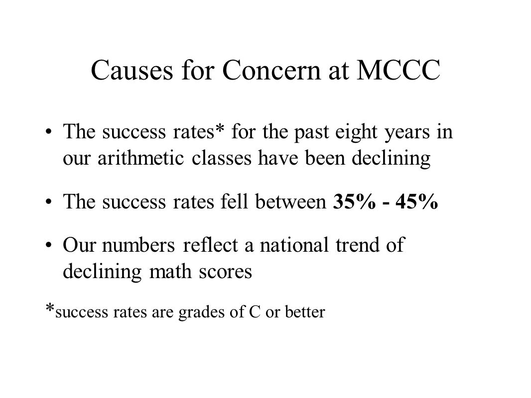 Causes for Concern at MCCC The success rates* for the past eight years in our arithmetic classes have been declining The success rates fell between 35% - 45% Our numbers reflect a national trend of declining math scores * success rates are grades of C or better