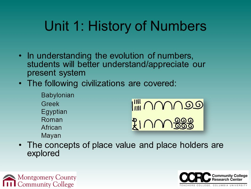 Unit 1: History of Numbers In understanding the evolution of numbers, students will better understand/appreciate our present system The following civilizations are covered: Babylonian Greek Egyptian Roman African Mayan The concepts of place value and place holders are explored