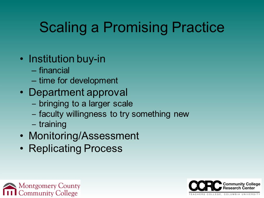 Scaling a Promising Practice Institution buy-in –financial –time for development Department approval ‒ bringing to a larger scale ‒ faculty willingness to try something new ‒ training Monitoring/Assessment Replicating Process