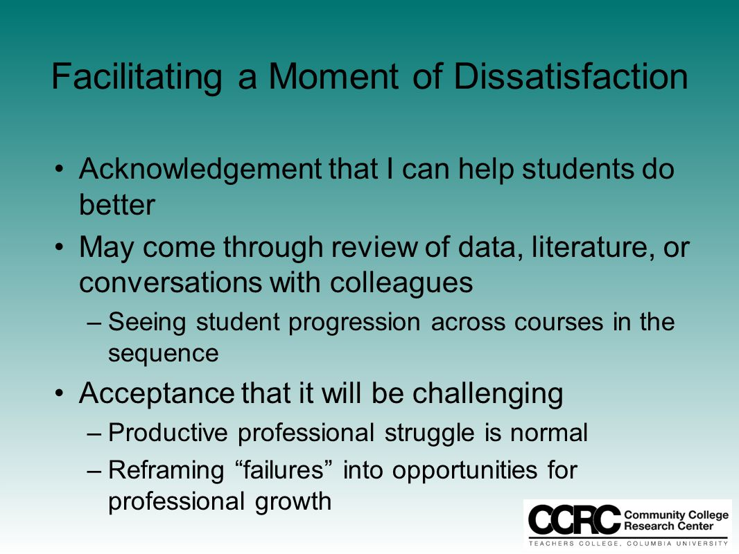 Facilitating a Moment of Dissatisfaction Acknowledgement that I can help students do better May come through review of data, literature, or conversati