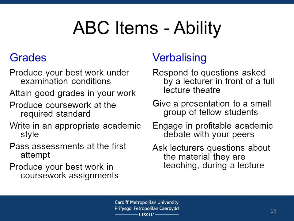 ABC Items - Ability Grades Produce your best work under examination conditions Attain good grades in your work Produce coursework at the required stan