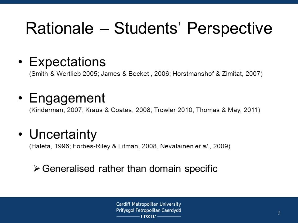Rationale – Students' Perspective Expectations (Smith & Wertlieb 2005; James & Becket, 2006; Horstmanshof & Zimitat, 2007) Engagement (Kinderman, 2007