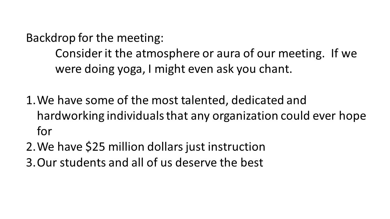 Backdrop for the meeting: Consider it the atmosphere or aura of our meeting. If we were doing yoga, I might even ask you chant. 1.We have some of the