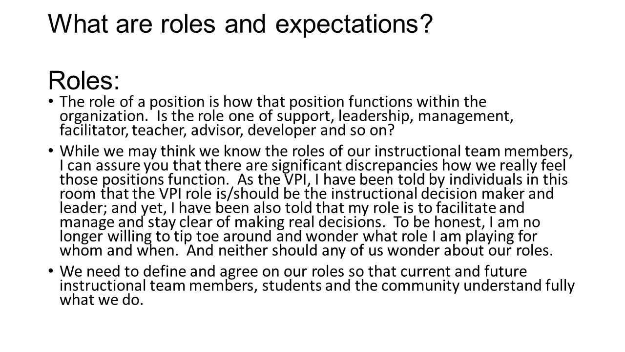 What are roles and expectations.