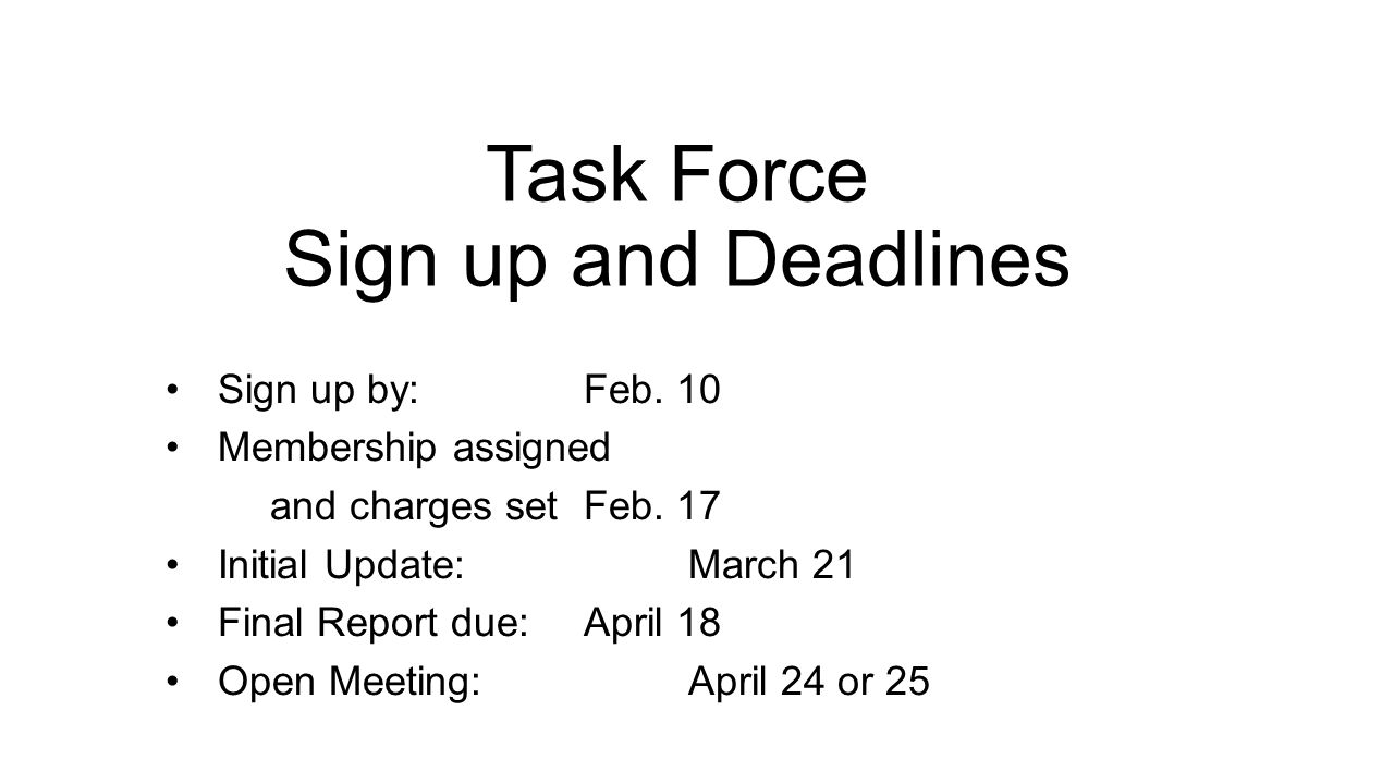 Task Force Sign up and Deadlines Sign up by: Feb. 10 Membership assigned and charges set Feb.