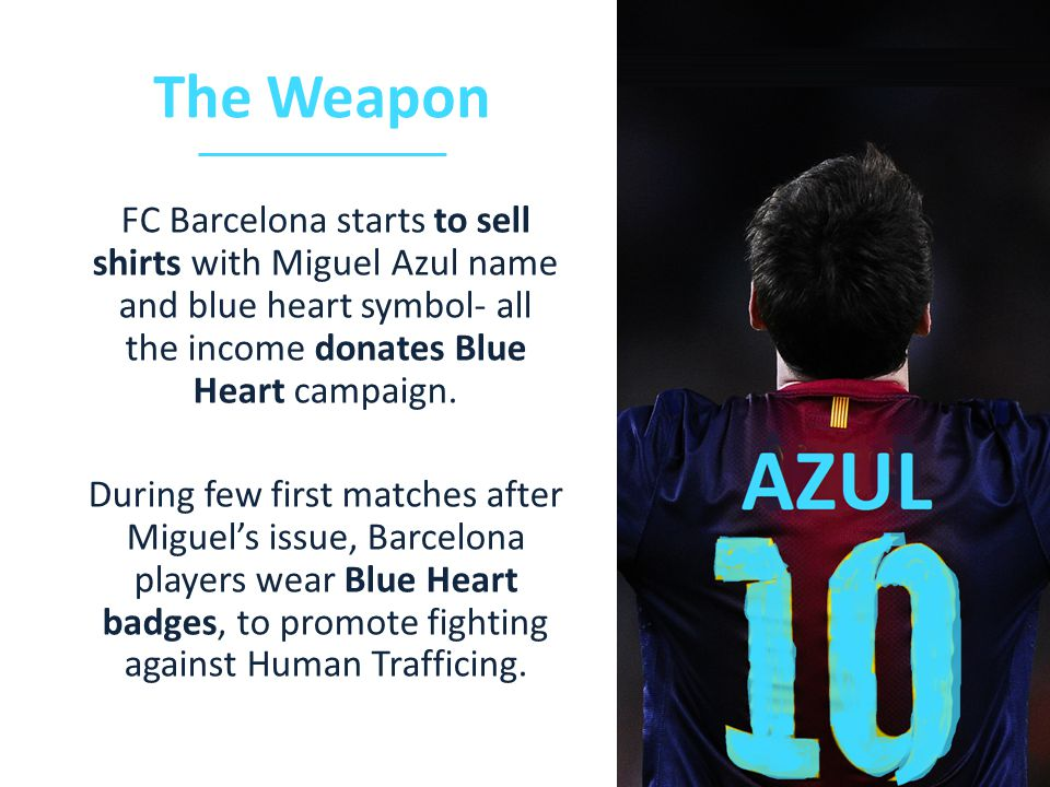FC Barcelona starts to sell shirts with Miguel Azul name and blue heart symbol- all the income donates Blue Heart campaign.