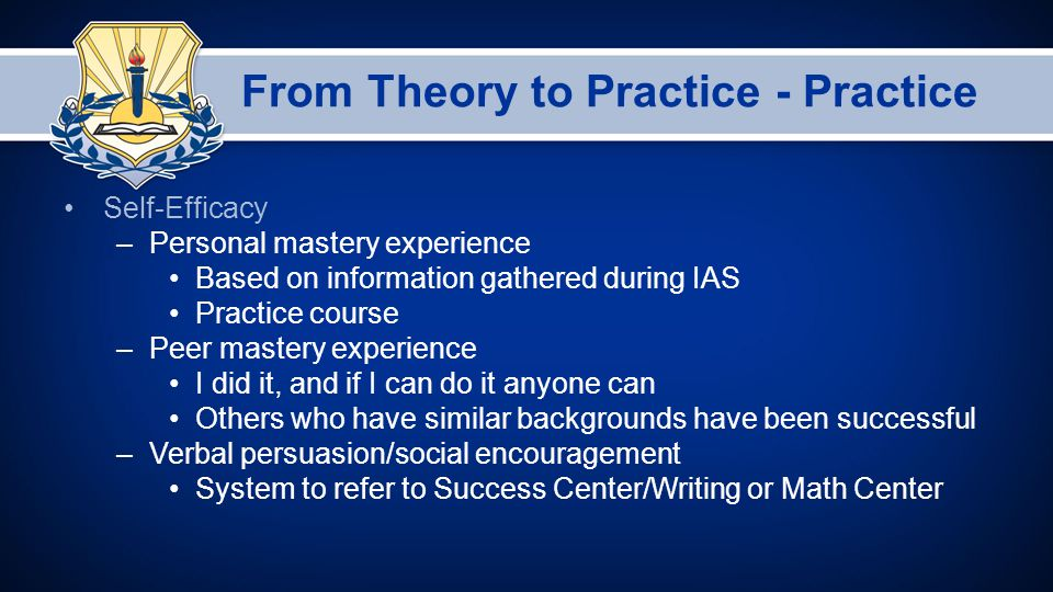 From Theory to Practice - Practice Self-Efficacy –Personal mastery experience Based on information gathered during IAS Practice course –Peer mastery experience I did it, and if I can do it anyone can Others who have similar backgrounds have been successful –Verbal persuasion/social encouragement System to refer to Success Center/Writing or Math Center