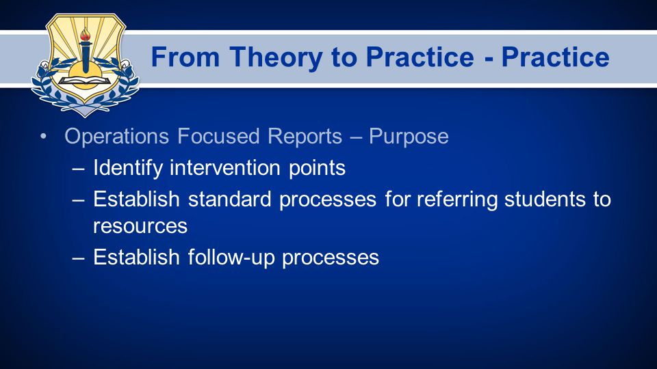 From Theory to Practice - Practice Operations Focused Reports – Purpose –Identify intervention points –Establish standard processes for referring students to resources –Establish follow-up processes