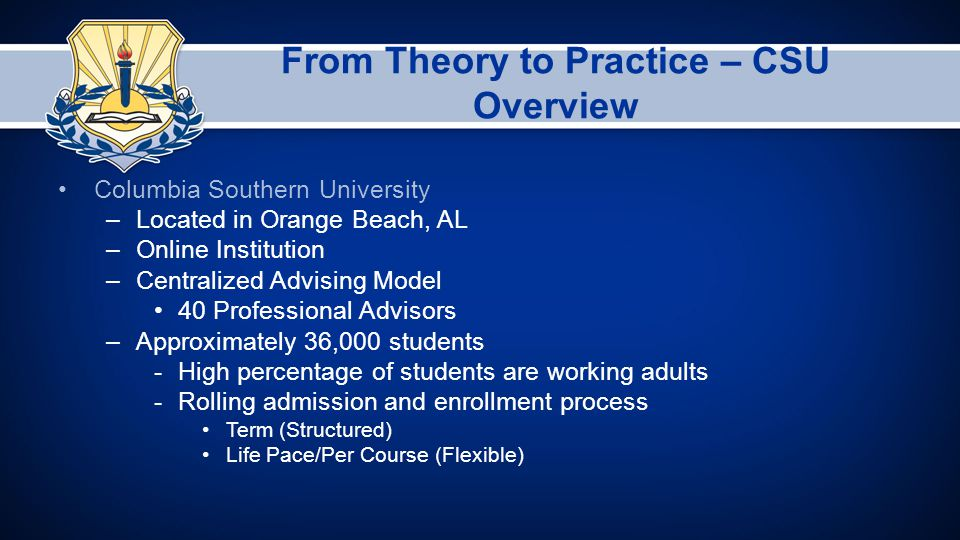 From Theory to Practice – CSU Overview Columbia Southern University –Located in Orange Beach, AL –Online Institution –Centralized Advising Model 40 Professional Advisors –Approximately 36,000 students -High percentage of students are working adults -Rolling admission and enrollment process Term (Structured) Life Pace/Per Course (Flexible)