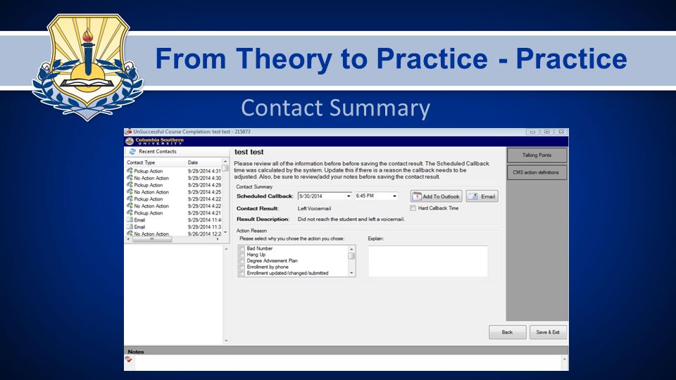 From Theory to Practice - Practice Contact Summary