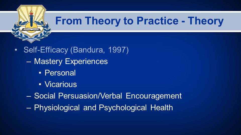 From Theory to Practice - Theory Self-Efficacy (Bandura, 1997) –Mastery Experiences Personal Vicarious –Social Persuasion/Verbal Encouragement –Physiological and Psychological Health